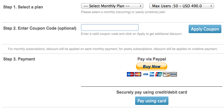 Convert to paid plan if you clicked on pay using card you will get option to enter your credit card details to make the yearly payment sciox Choice Image