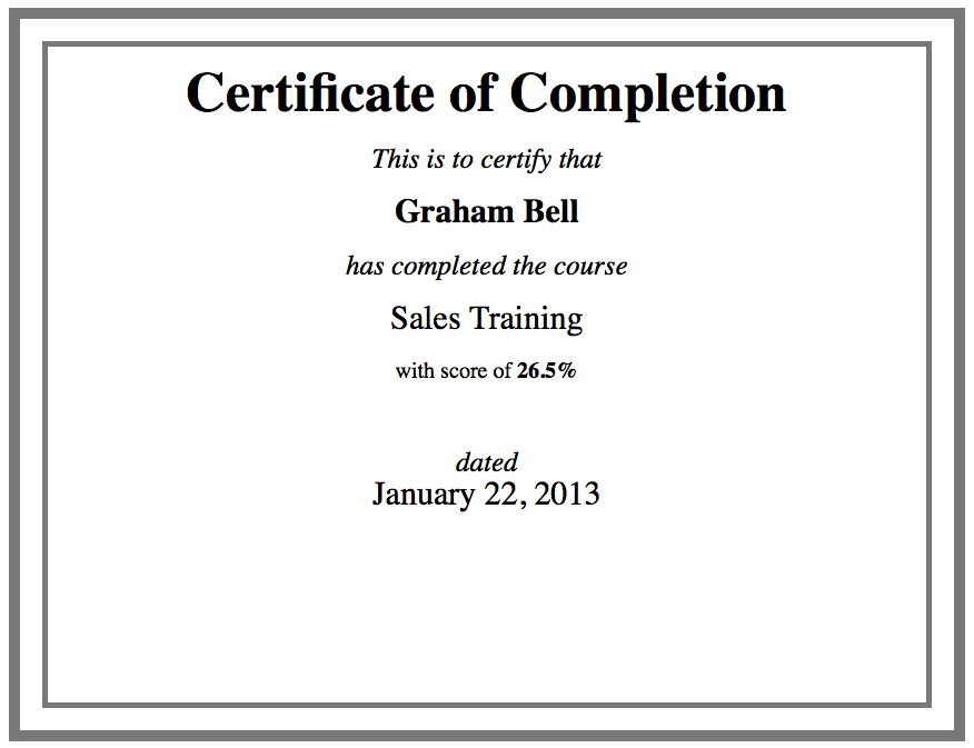 Custom certificate template using html for Course certificate template word
