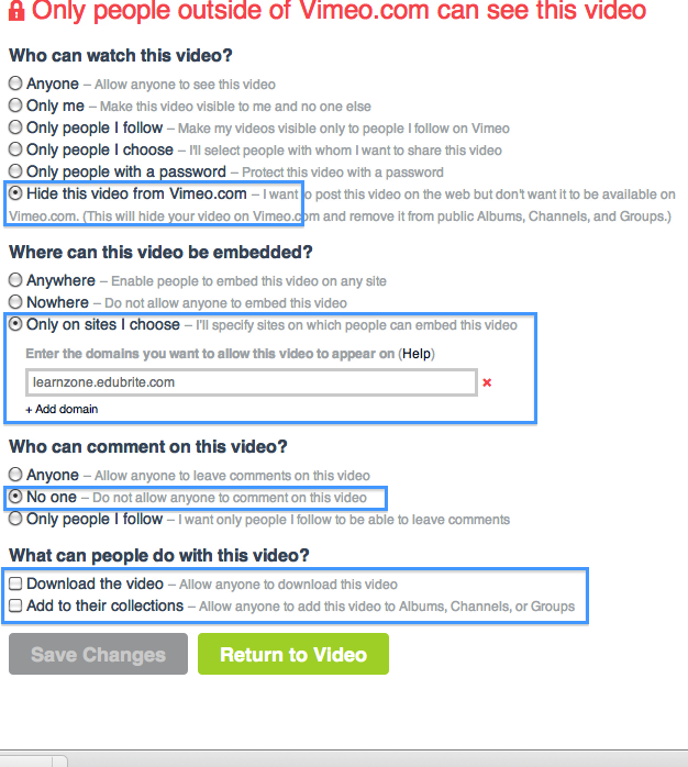 Using Private Videos from Vimeo in Course