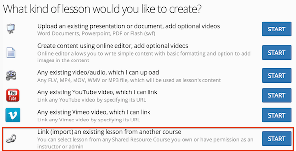 Linking (importing) lessons from other courses